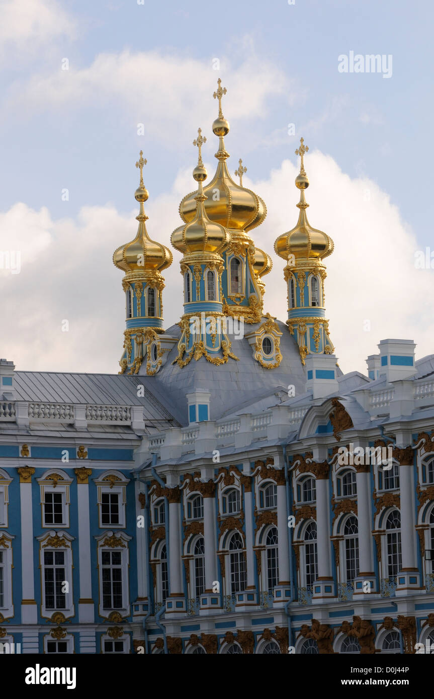 Roof of the Palace Church with golden domes and crosses at the Catherine Palace Museum, Tzarskoje Selo Palace at - Stock Image