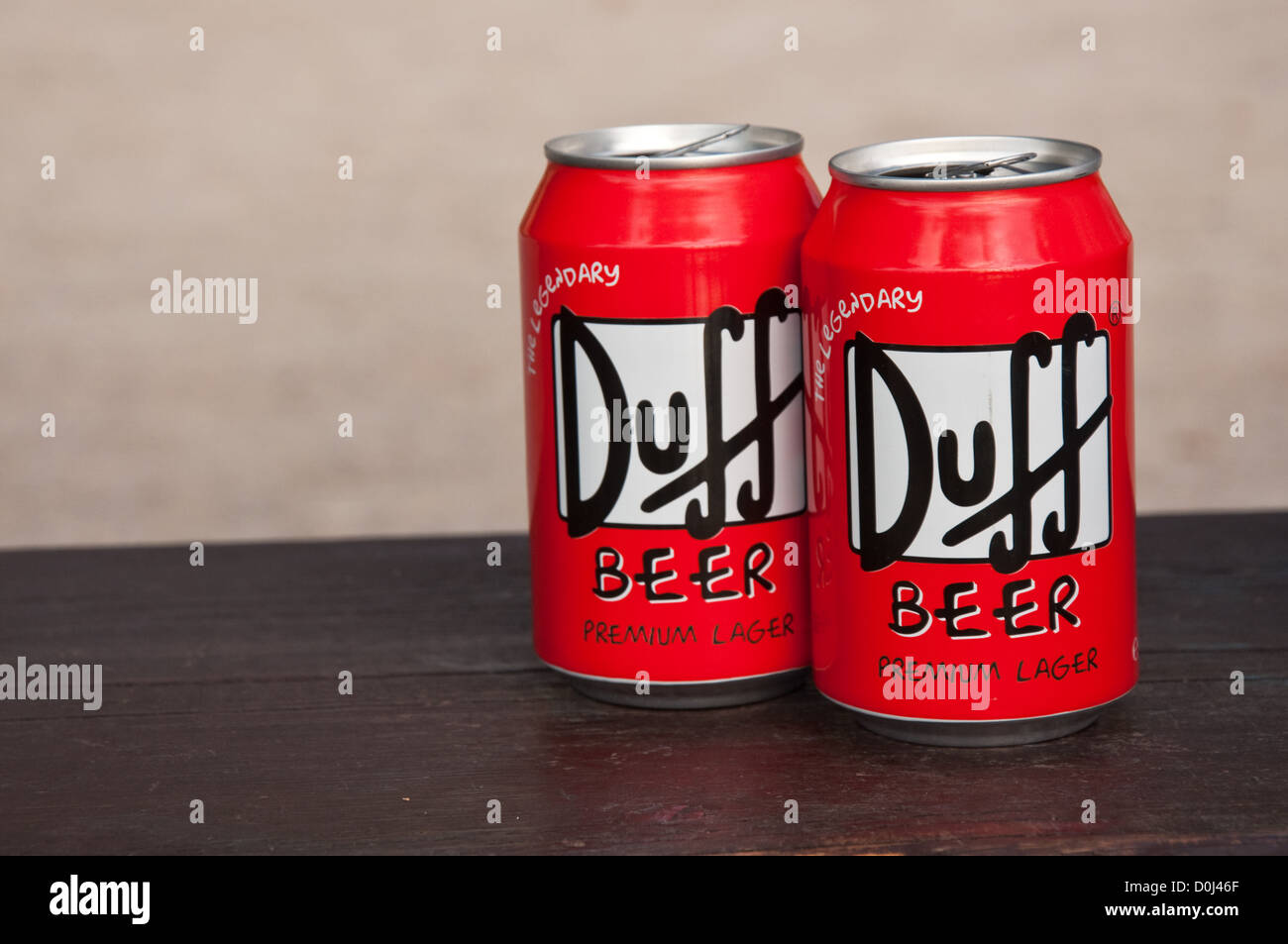 Two cans of famous Duff beer Stock Photo