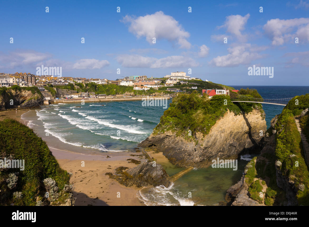 Overall view of Towan beach and waves, Newquay, Cornwall, England - Stock Image