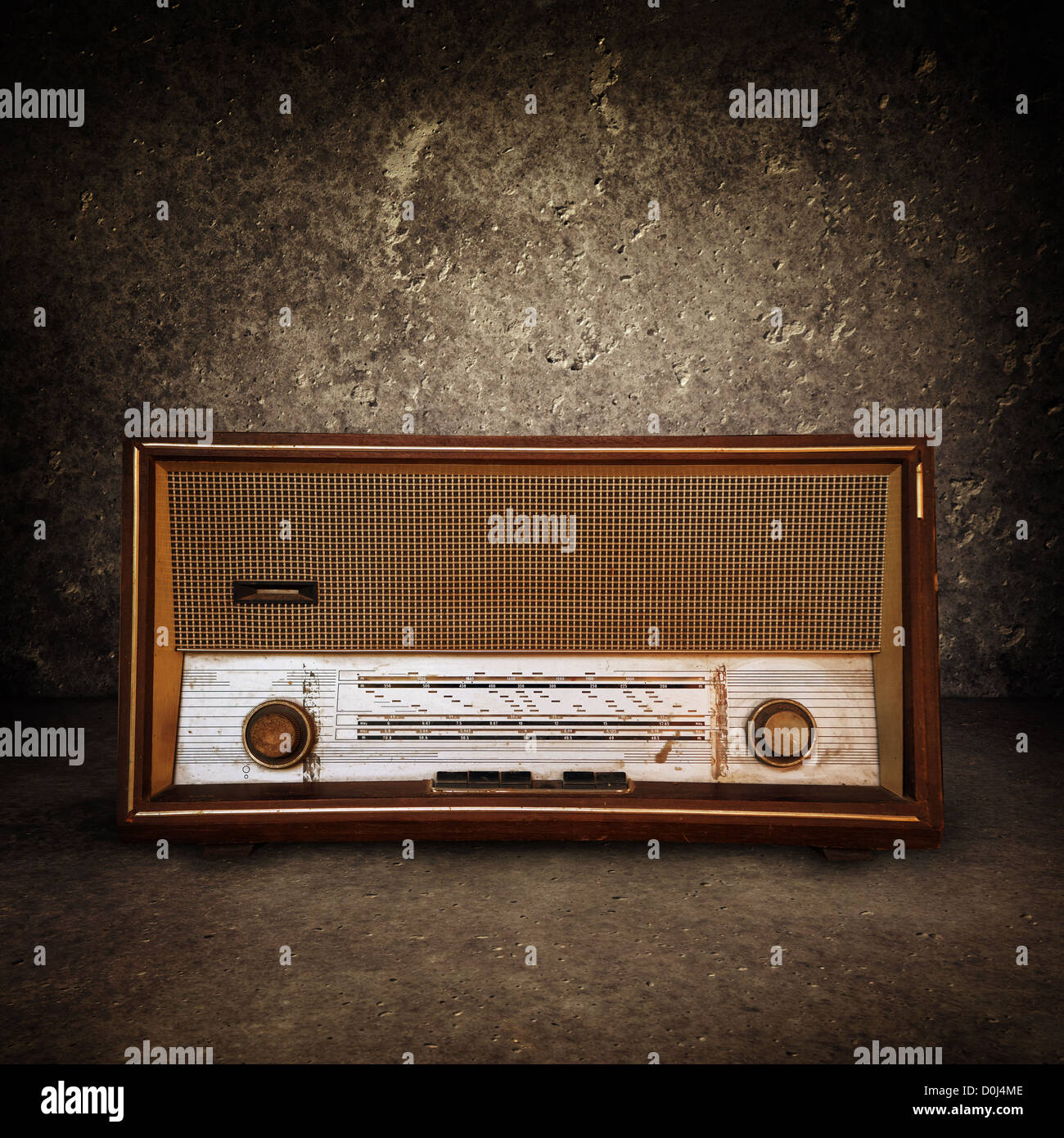 Beautiful old vintage wooden radio receiver device Stock Photo