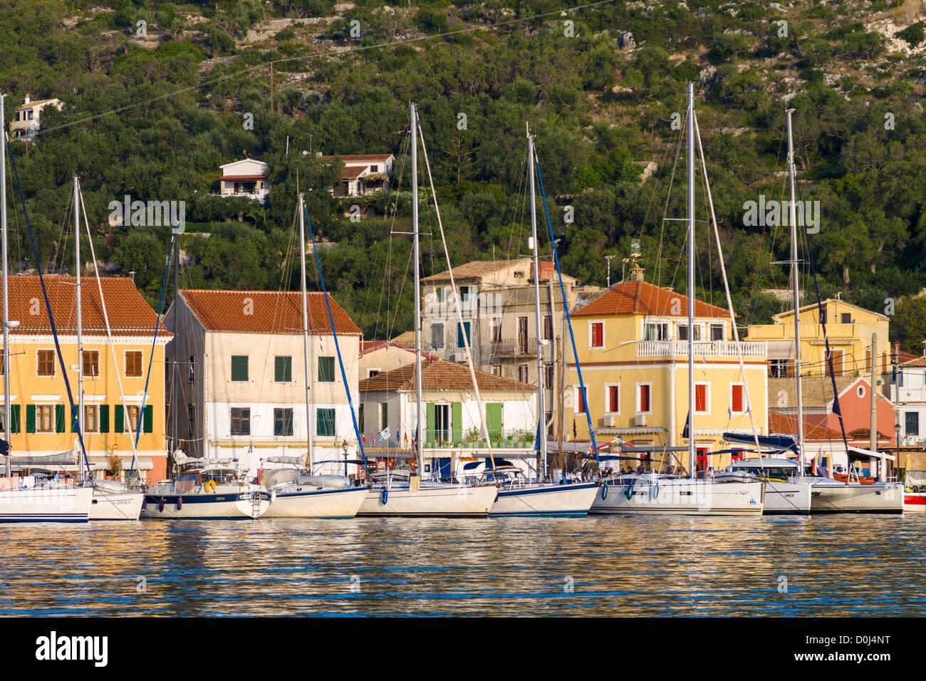 Yachts or sail boats moored at Gaios, Paxos, Greece - Stock Image