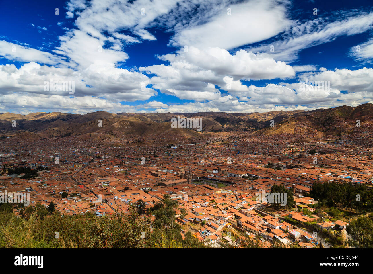 View of Cuzco from Sacsayhuaman viewpoint. Plaza de Armas clearly visible. Cuzco, Peru - Stock Image