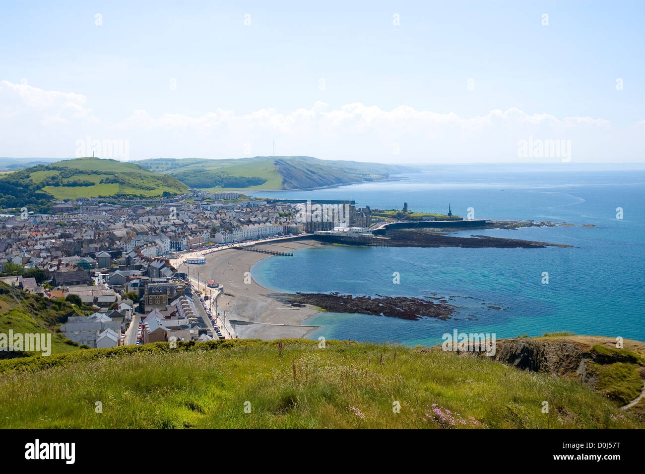 A view toward Aberystwyth from the hills above the town. - Stock Image