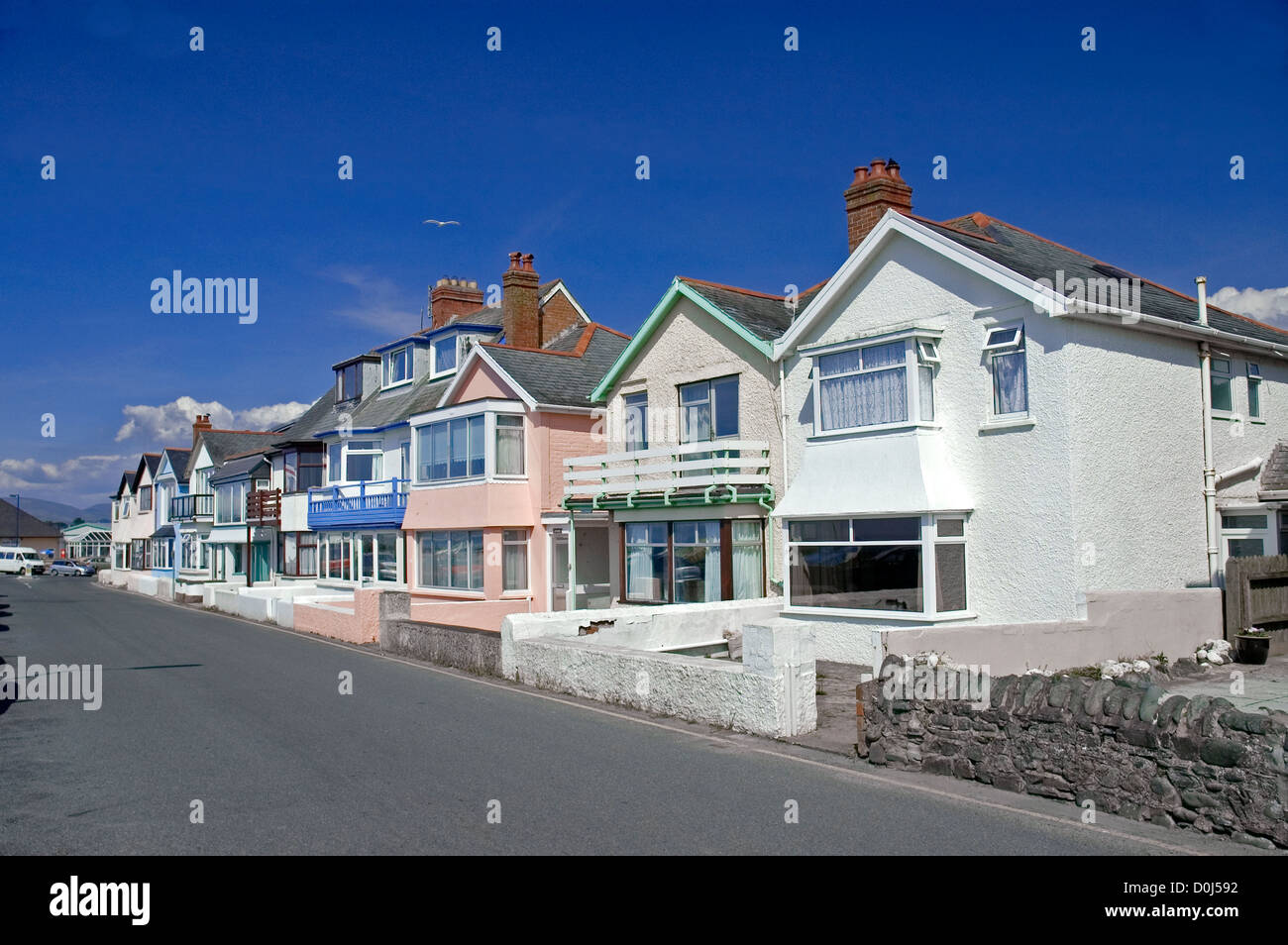 Residential houses in Borth. - Stock Image