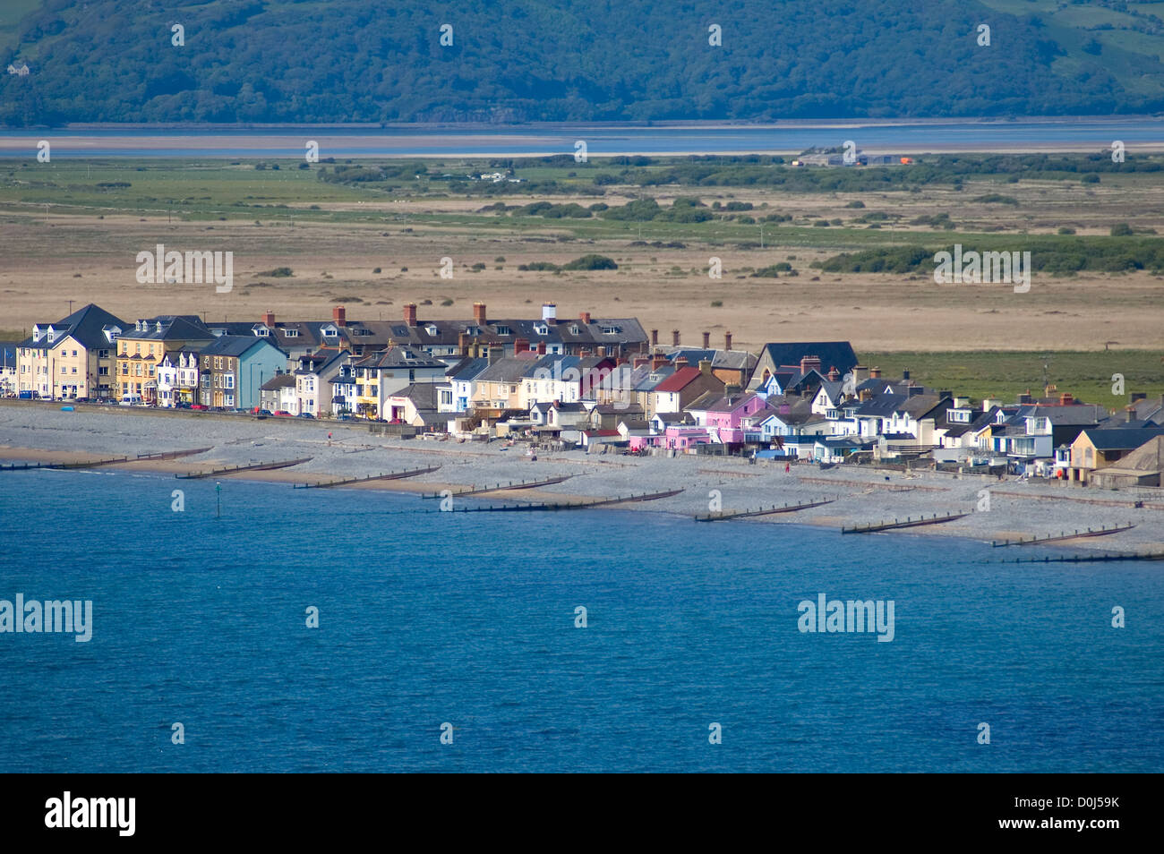 A view toward Borth from the hills above the town. - Stock Image