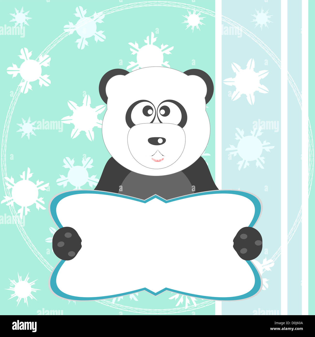 Baby winter background with funny young teddy bear panda. Christmas ...