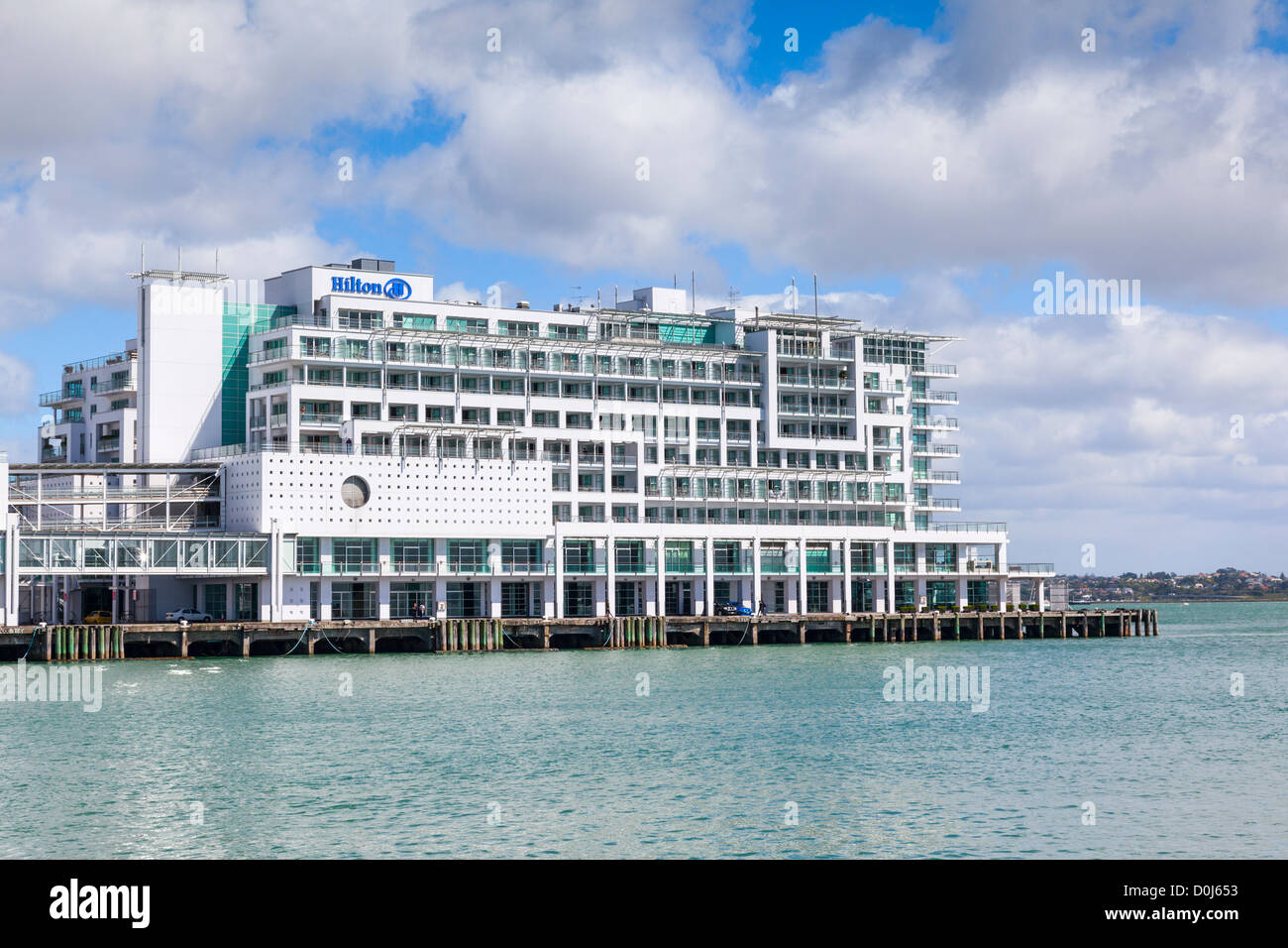 Hilton Hotel, Waitemata Harbour, Auckland, New Zealand. - Stock Image