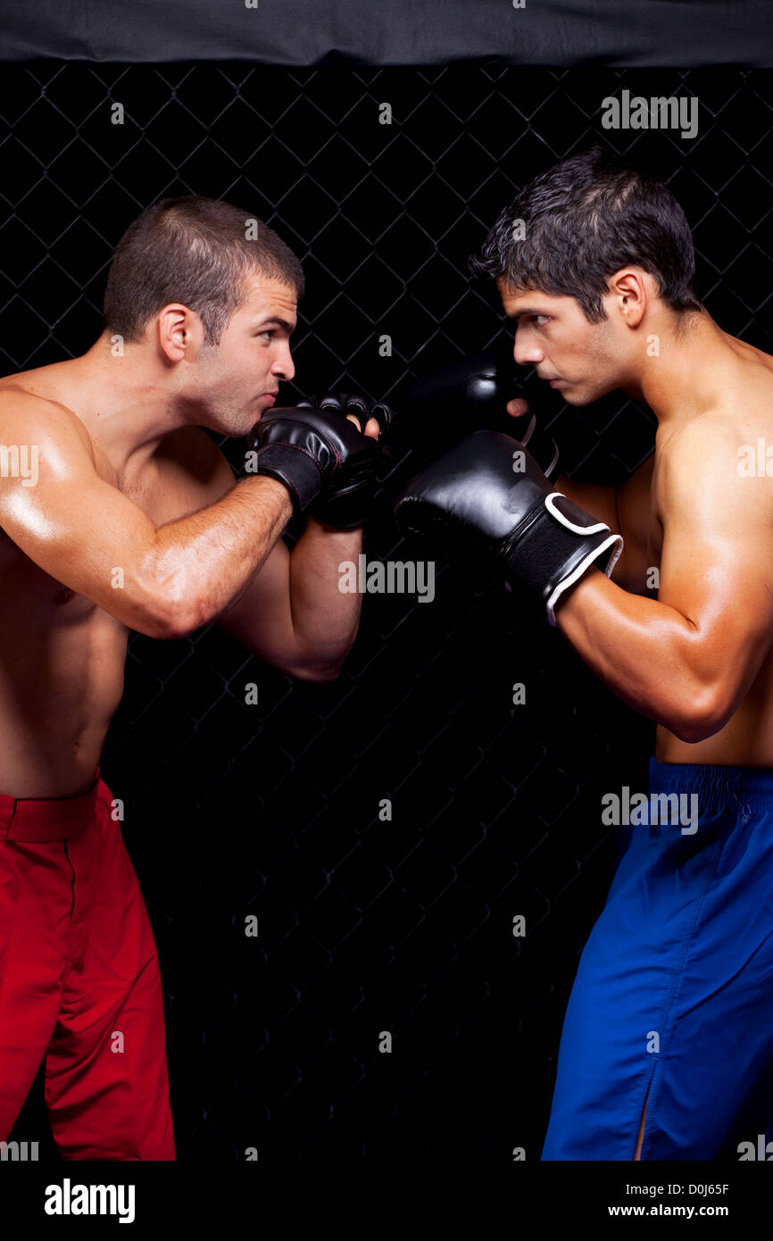 Mixed martial artists before a fight - Stock Image
