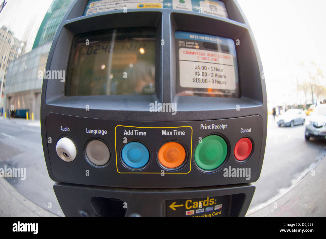A muni meter in midtown in New York on Friday, November 23, 2012. (© Frances M. Roberts) - Stock Image