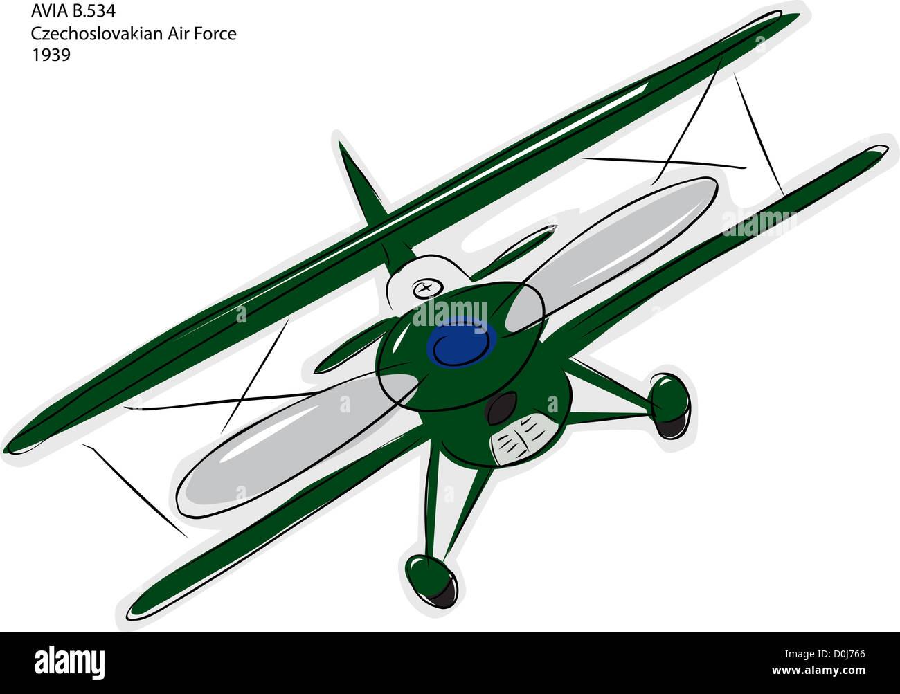 Sketch of Avia B.534 World War II combat bi-plane over white - Stock Image