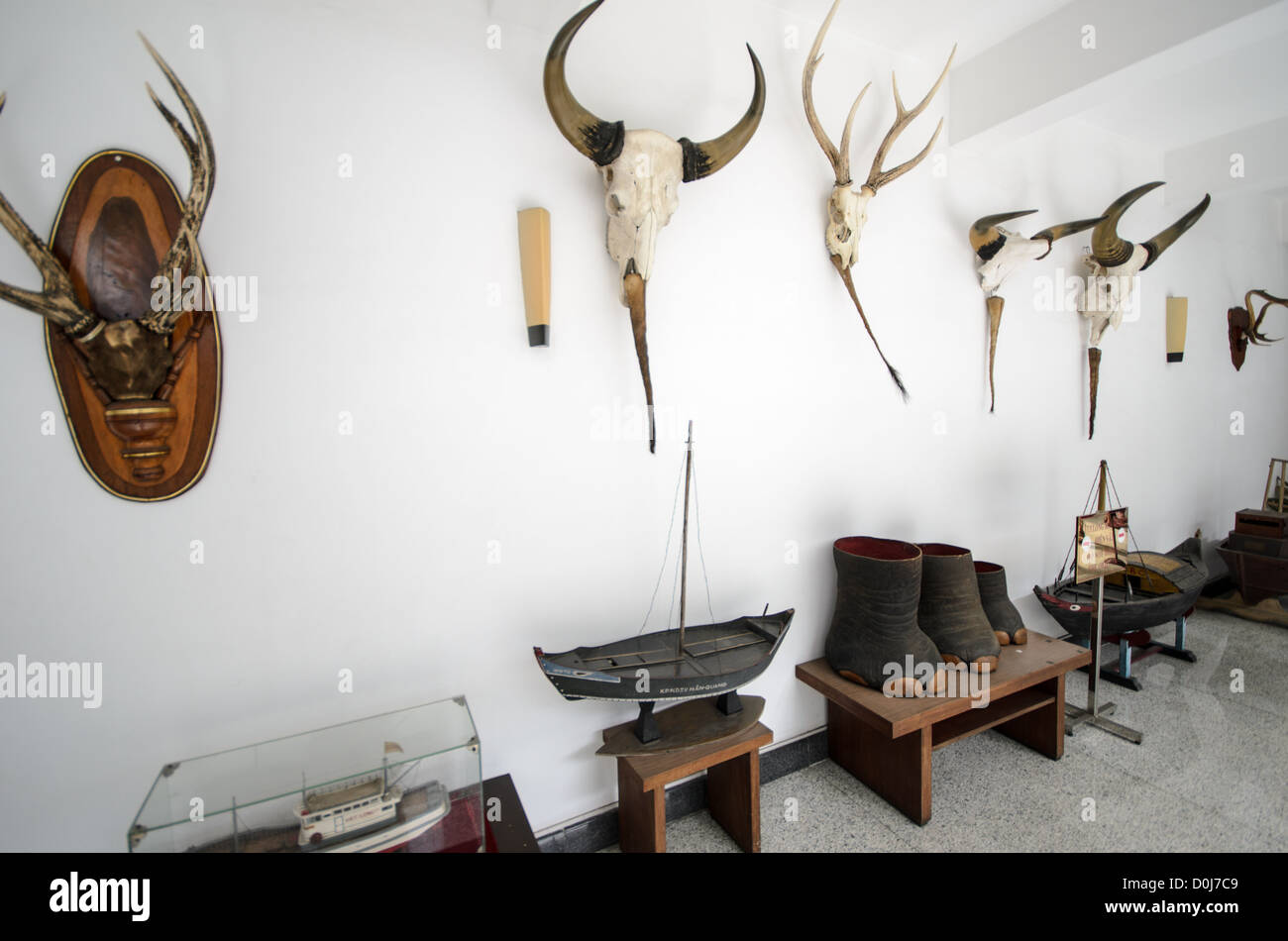 HO CHI MINH CITY, Vietnam - Various trophies and gifts on display outside the presidential family's living quarters at Reunification Palace (the former ...