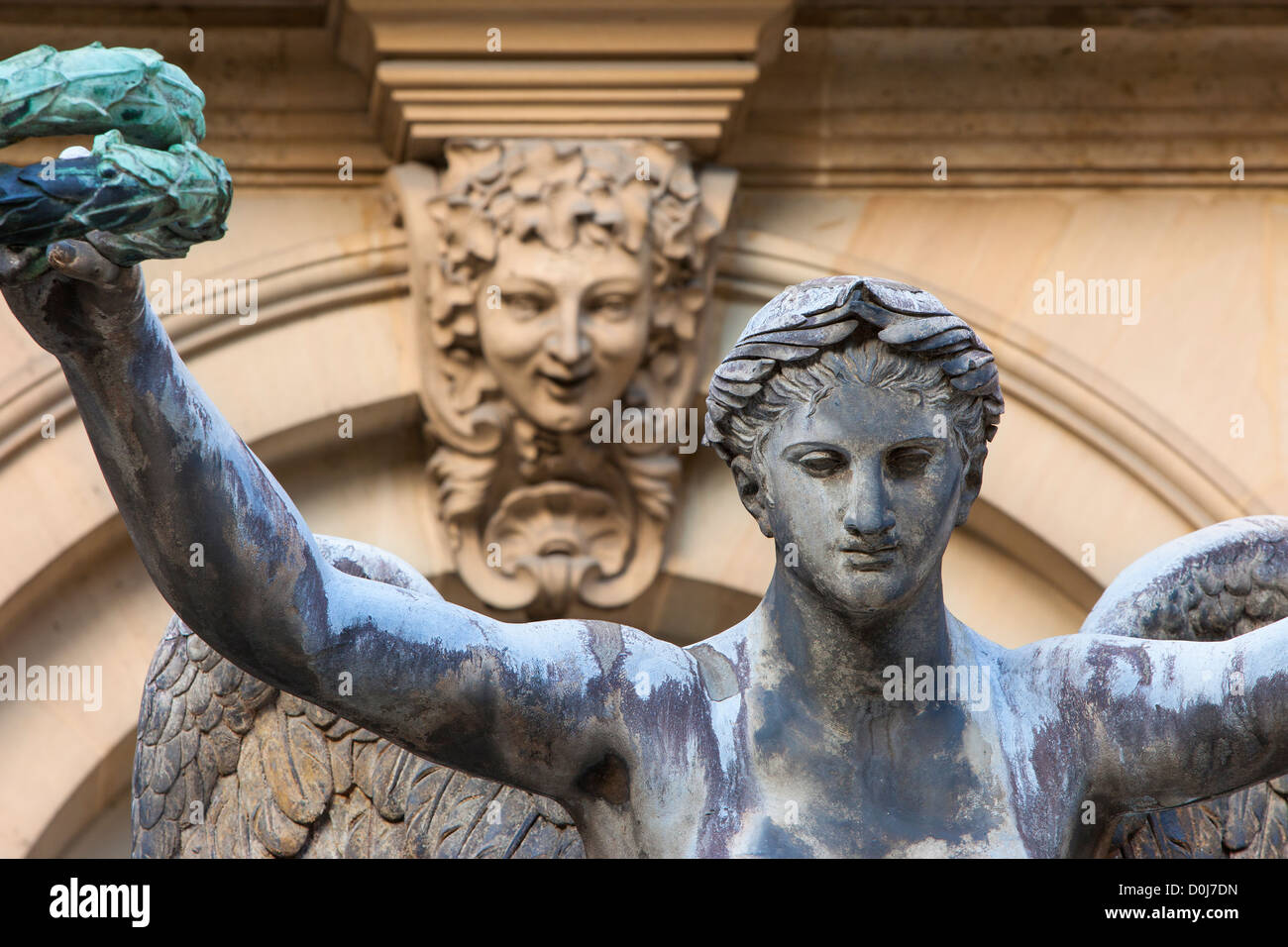 The Victory Allegorical Statue inside courtyard of Hotel Carnavalet - now the Museum of French History, les Marais, - Stock Image
