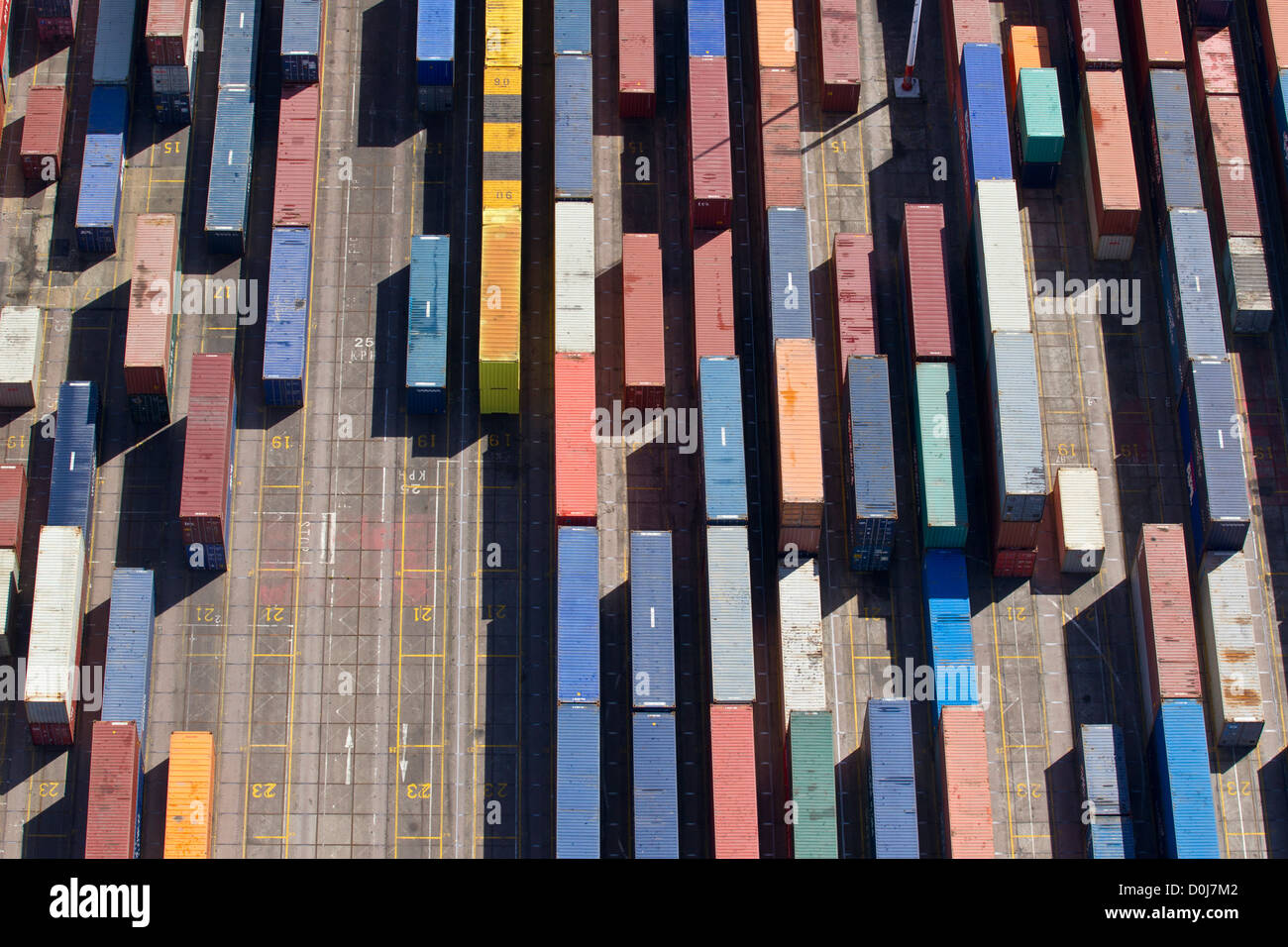 An aerial view of shipping containers at Southampton Docks. Stock Photo