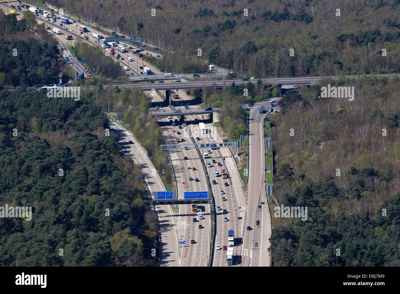Aerial view of  M25 Junction 10 where the motorway meets the A3. - Stock Image