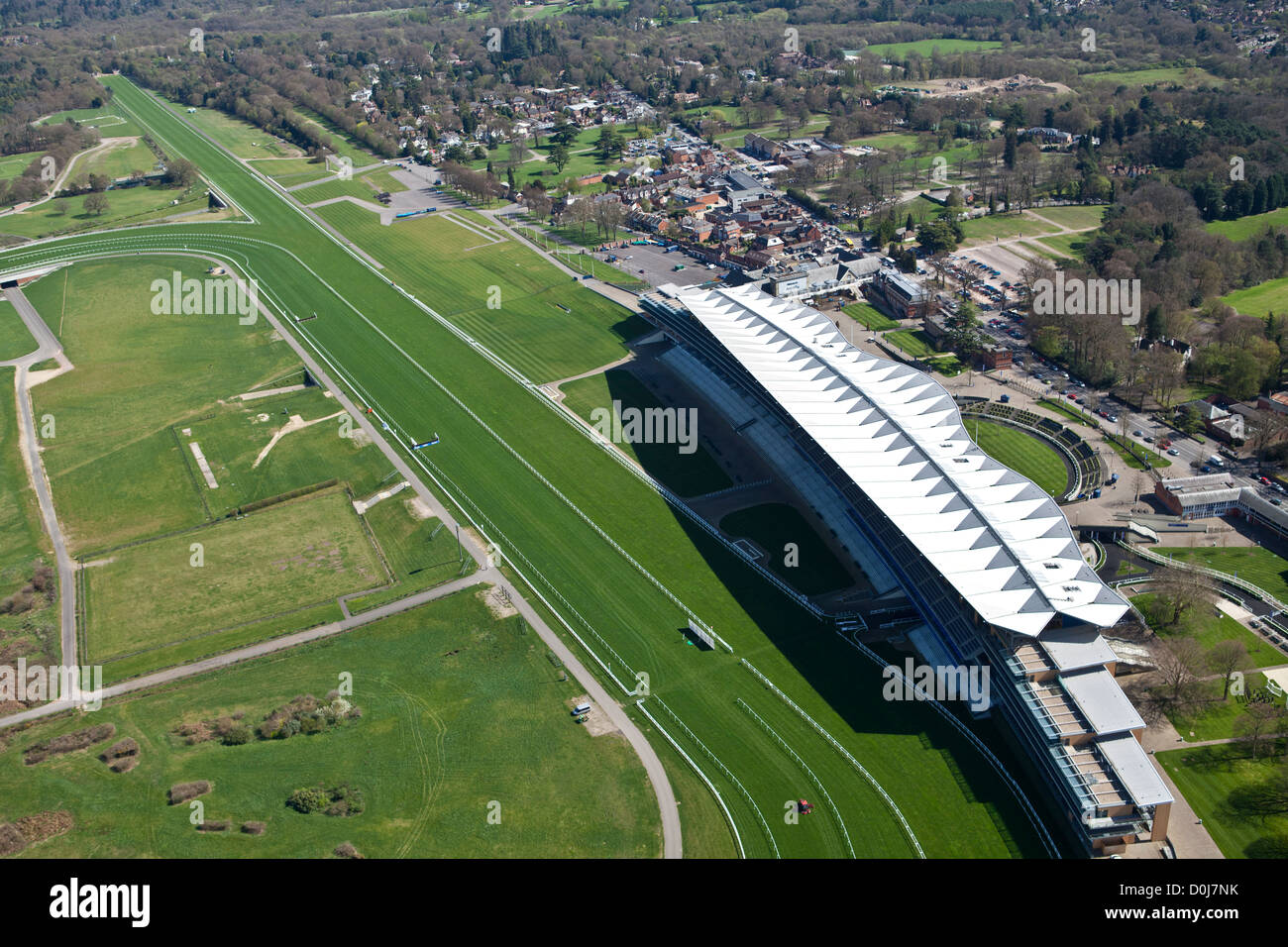 An aerial view of the main grandstand at Ascot Racecourse. Stock Photo