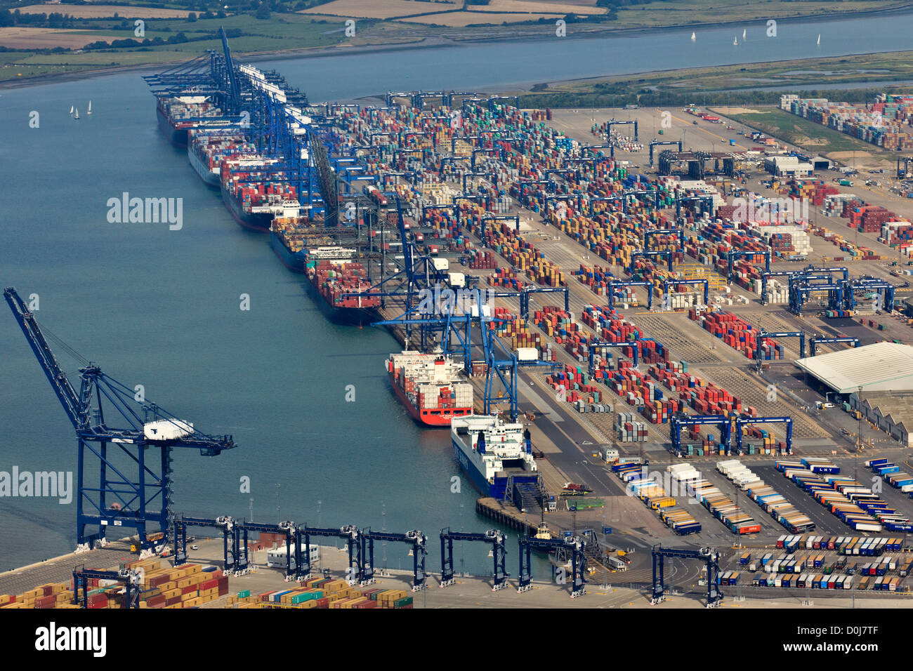 Aerial view of the Felixstowe Port and Container Terminal. - Stock Image