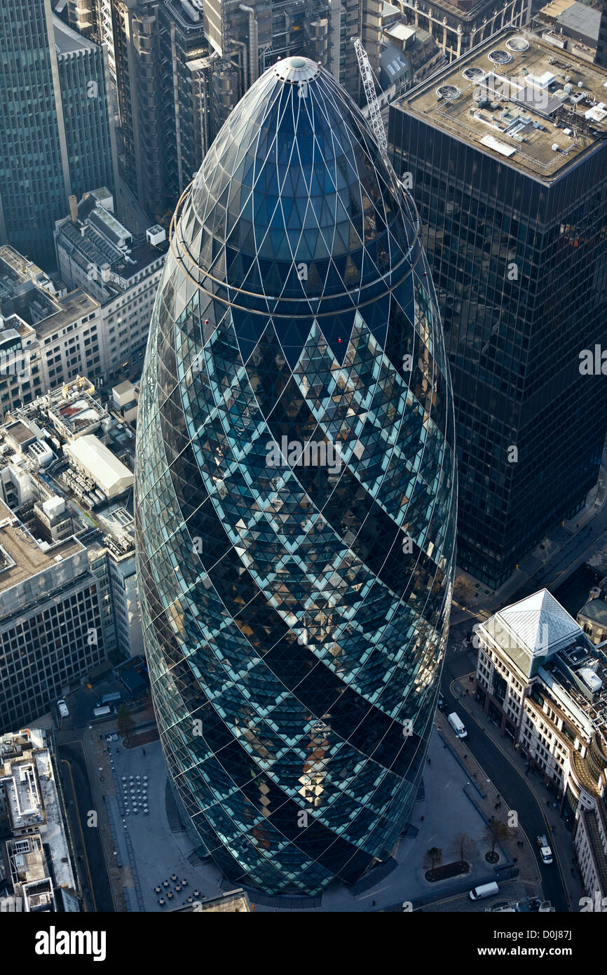 Aerial view of 30 St Mary Axe otherwise known as The Gherkin. - Stock Image