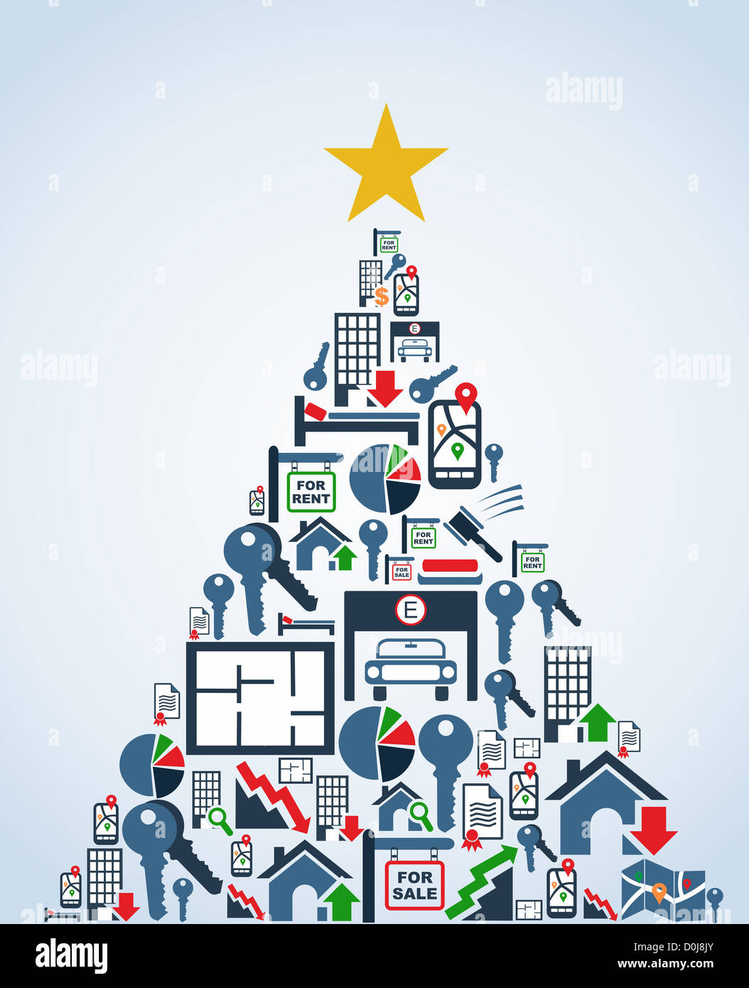 Real estate icon set in Christmas Tree greeting card. Vector Stock ...