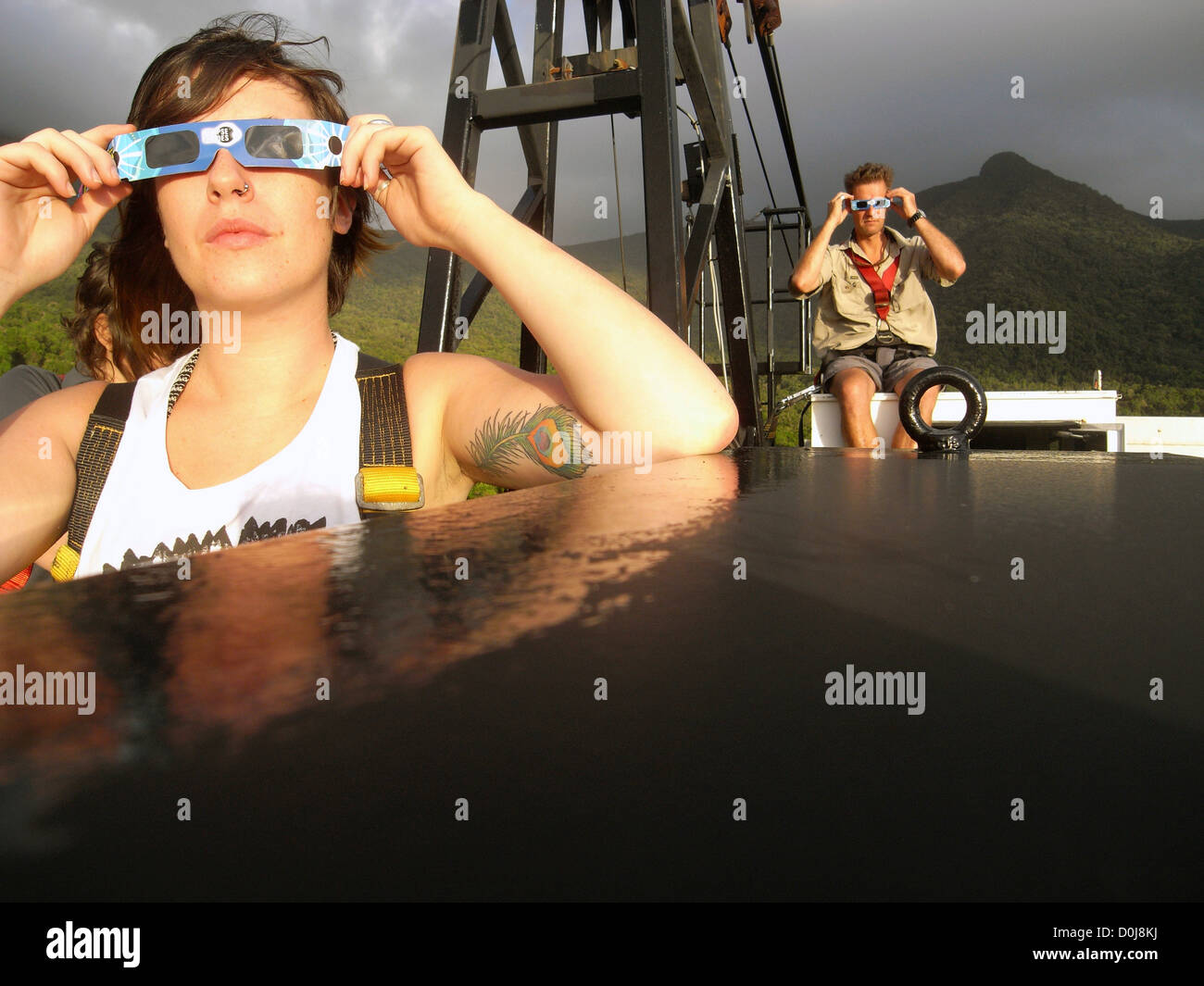 People watching solar eclipse from atop the canopy crane at the Daintree Rainforest Observatory, Cape Tribulation, - Stock Image