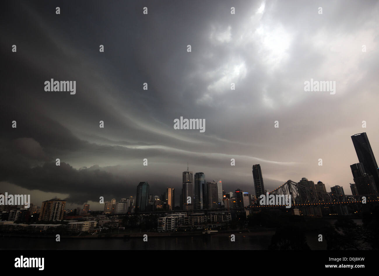 Extreme weather events: hail storm over Brisbane city, Queensland, Australia - Stock Image