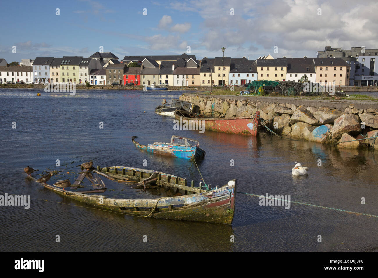 Boat graveyard in the Claddagh, Galway, Ireland. - Stock Image