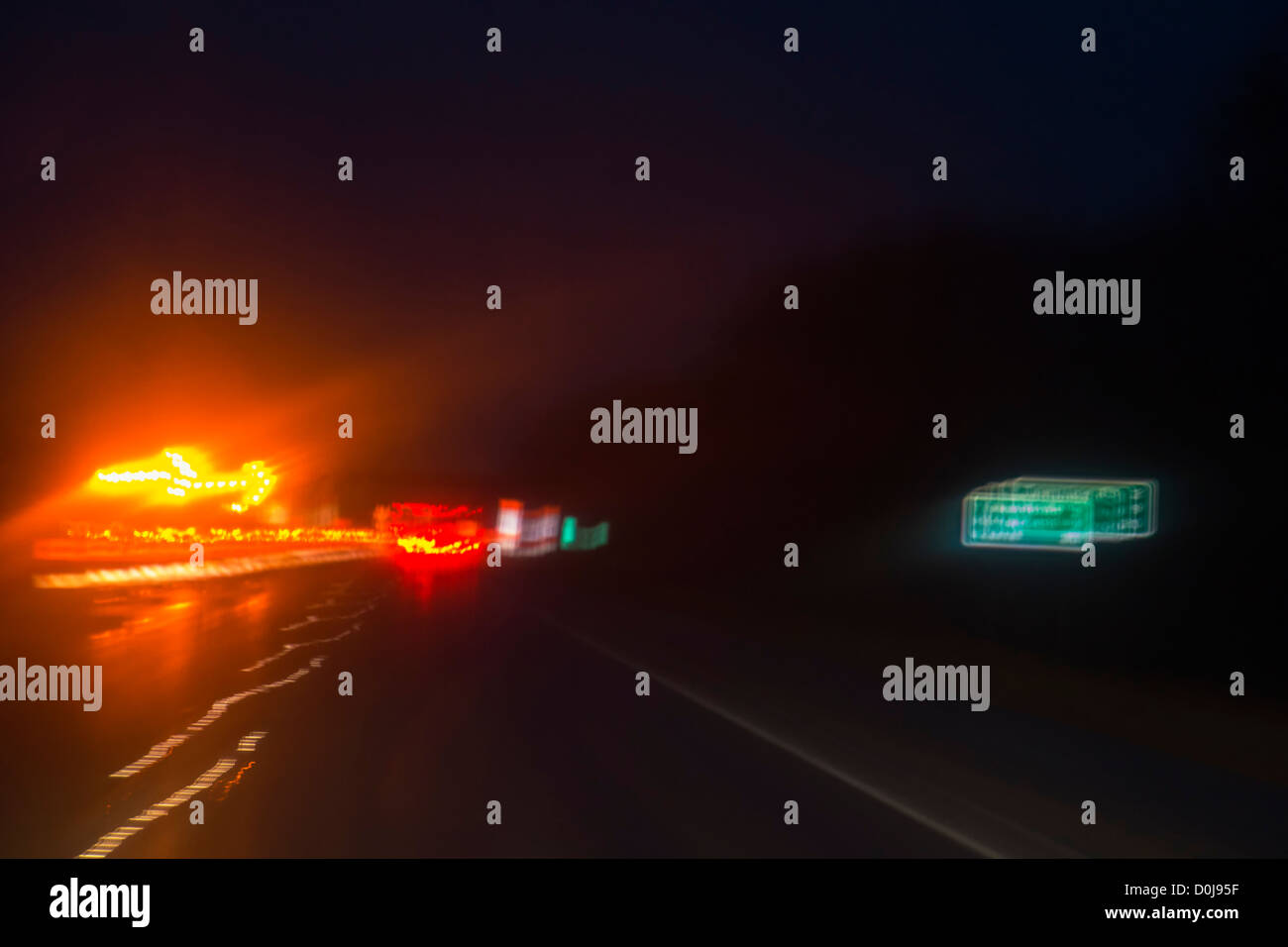 Abstract light patterns on highways. - Stock Image
