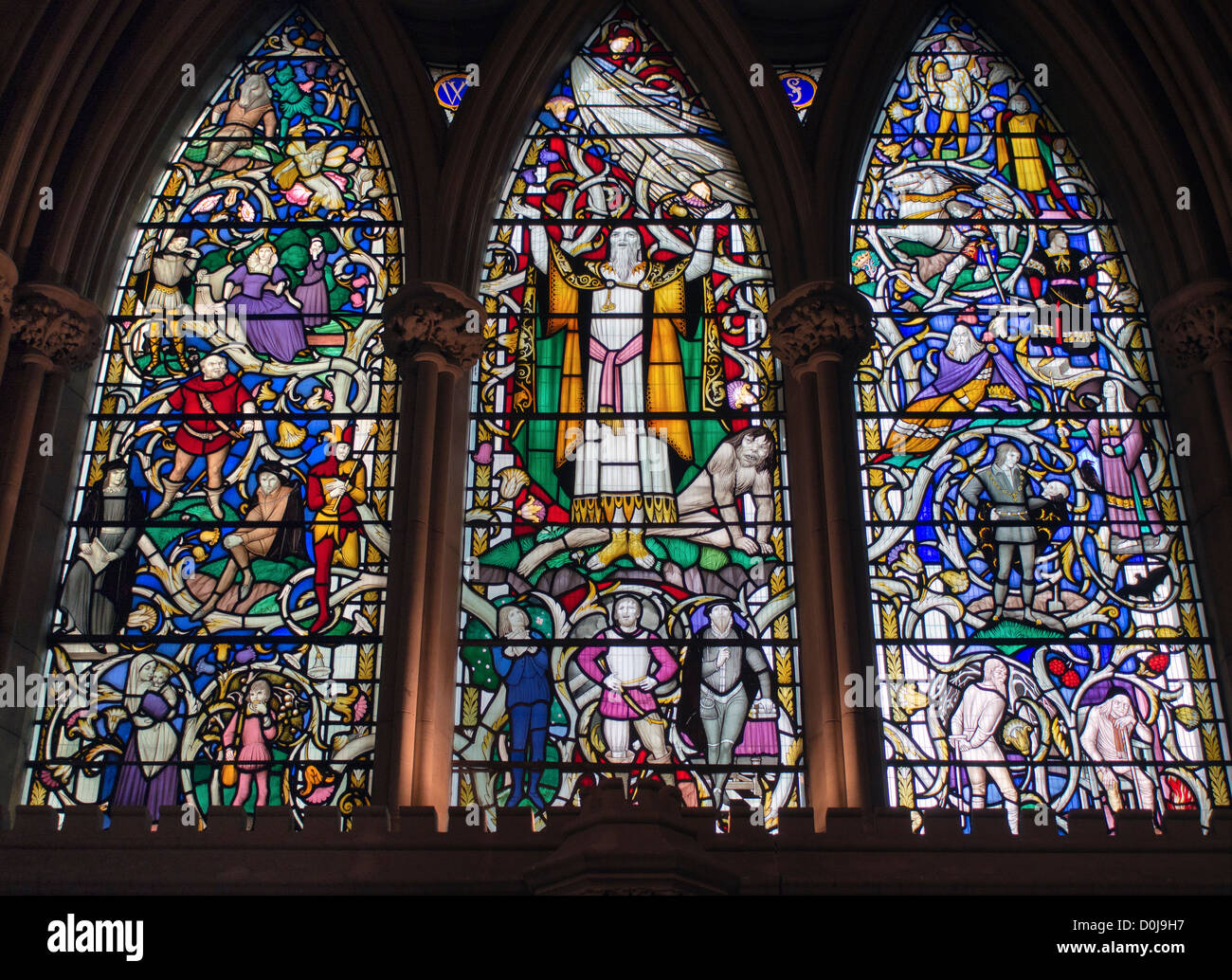 One of the stain glass windows in Southwark cathedral depicting a Shakespeare play. Stock Photo