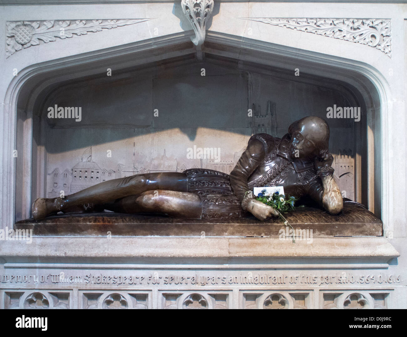 The Shakespeare Memorial in Southwark Cathedral. Stock Photo