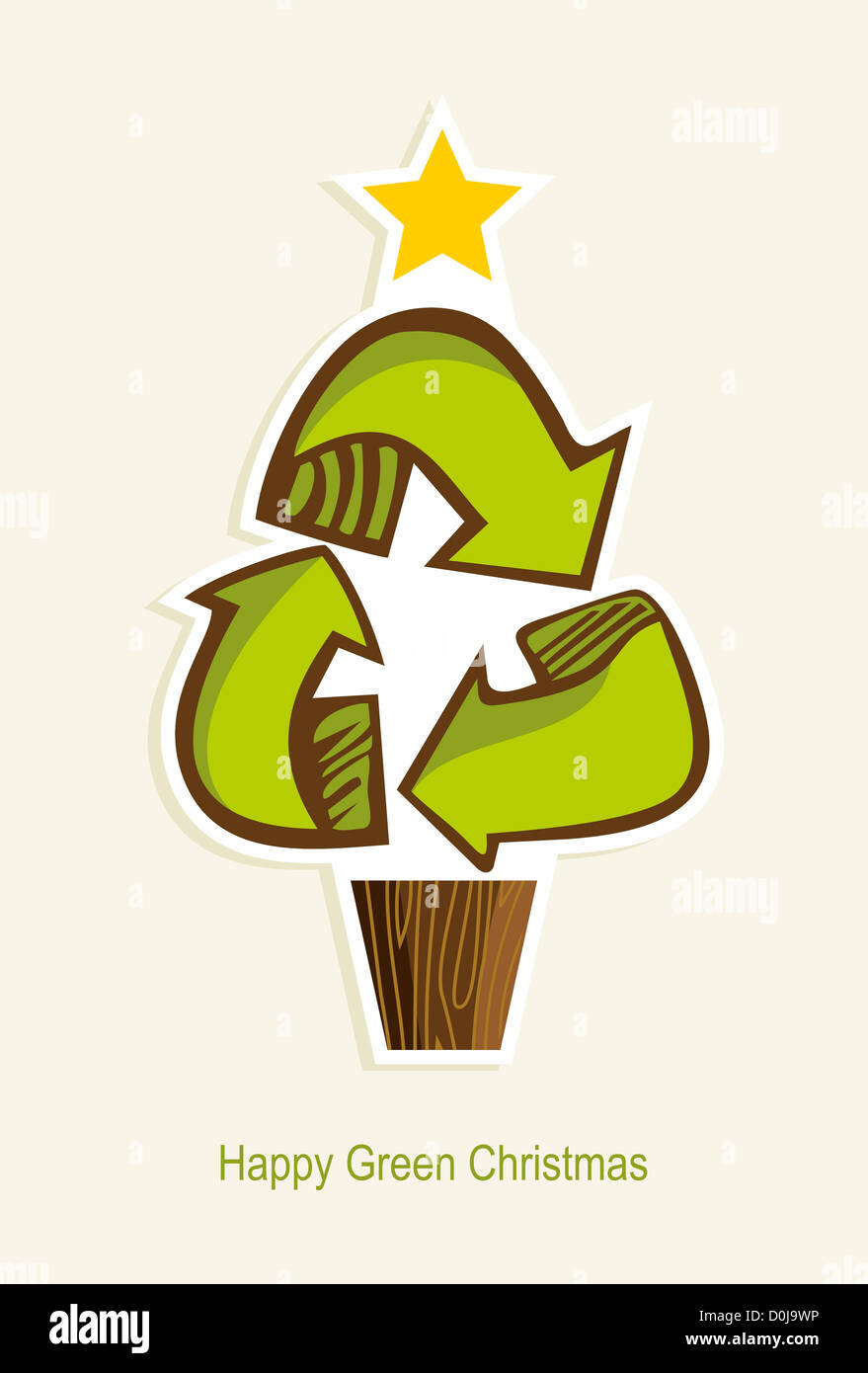 Green Recycle symbol Christmas tree in cartoon style. Vector Stock ...