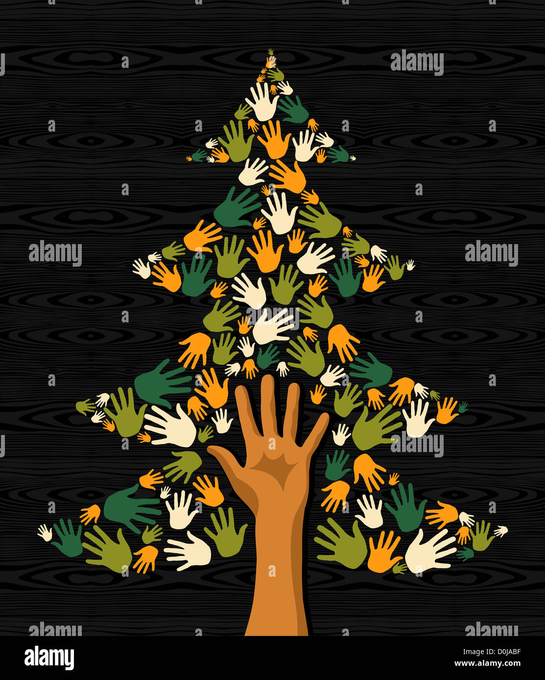 Diversity eco friendly Christmas Tree hands background for greeting ...