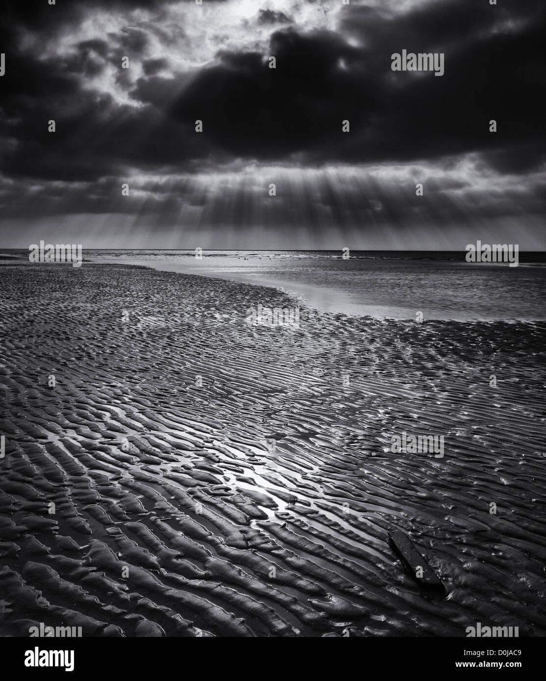 Dramaic light above the Irish Sea along the South Shore at Blackpool. - Stock Image