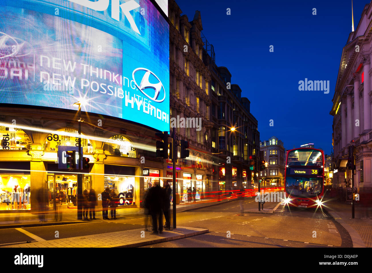 Piccadilly Circus at night. - Stock Image