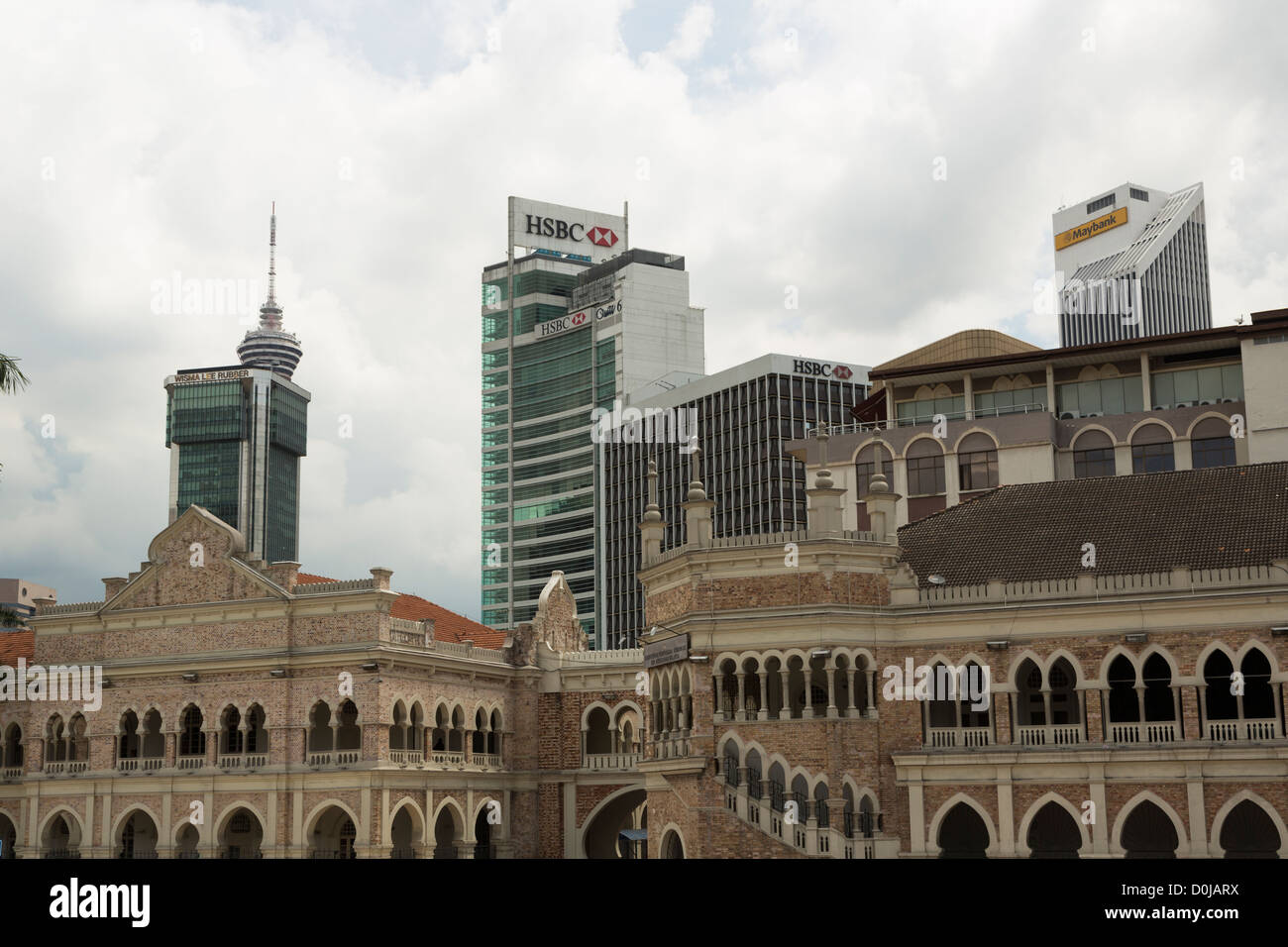 A view of central Kuala Lumpur with Sultan Abdul Samad building and HSBC and Maybank banks building Stock Photo