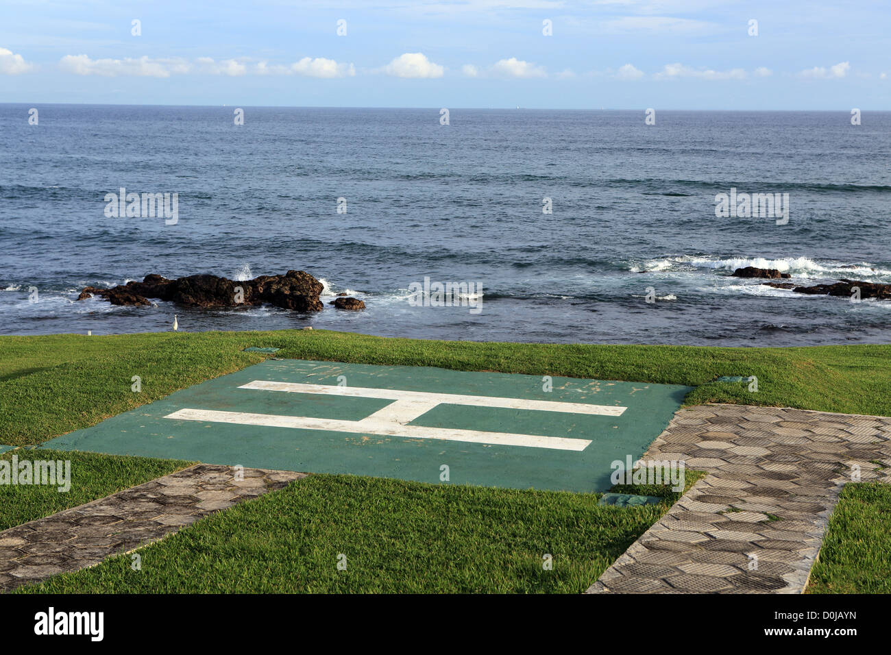 Helicopter pad at military base in Tangalle, on the south coast of Sri Lanka. - Stock Image