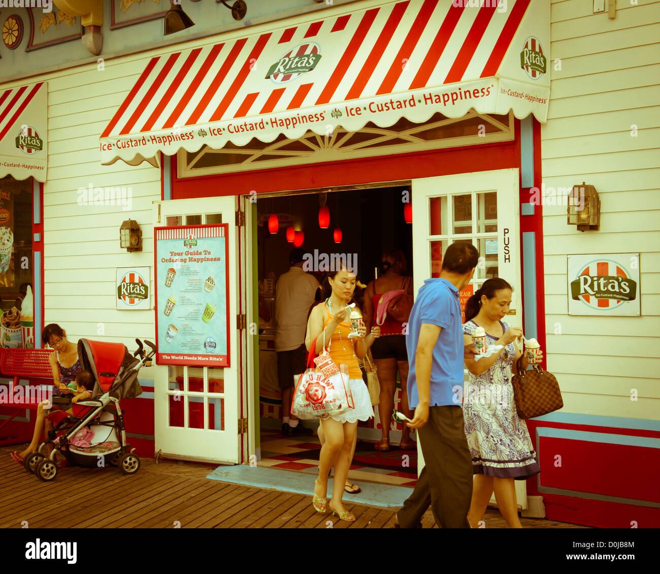 Tourists but ice cream on the boardwalk, Atlantic City, NJ Stock Photo