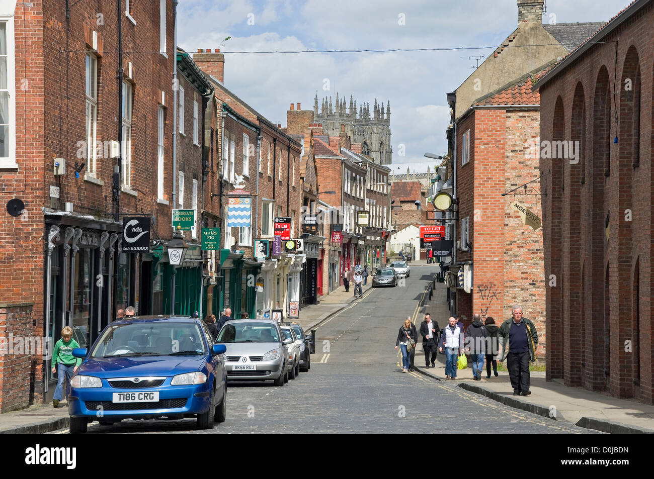 A view along Fossgate in York. - Stock Image