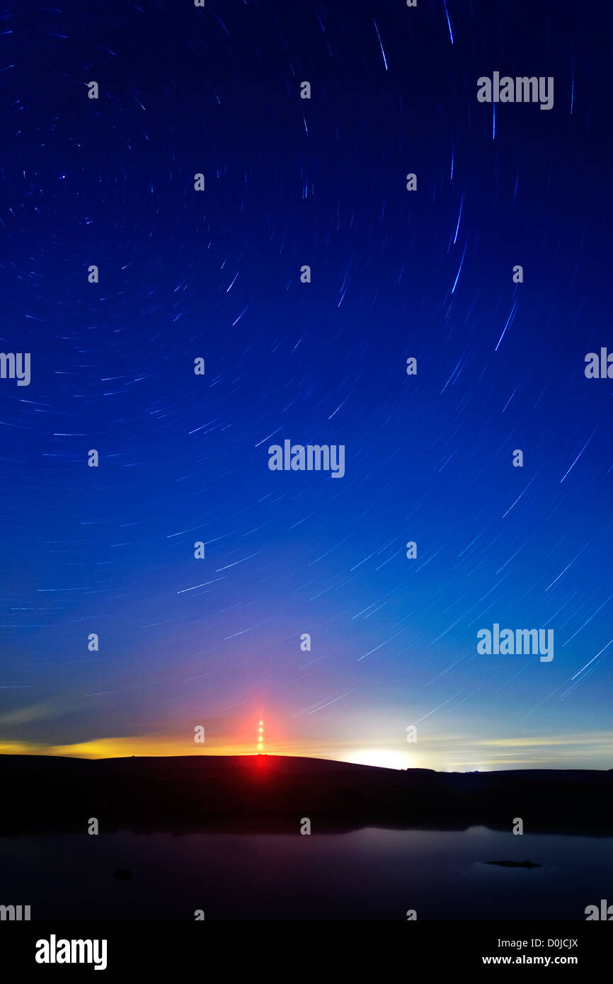 Polaris star trail over North Hessary Tor on Dartmoor. - Stock Image
