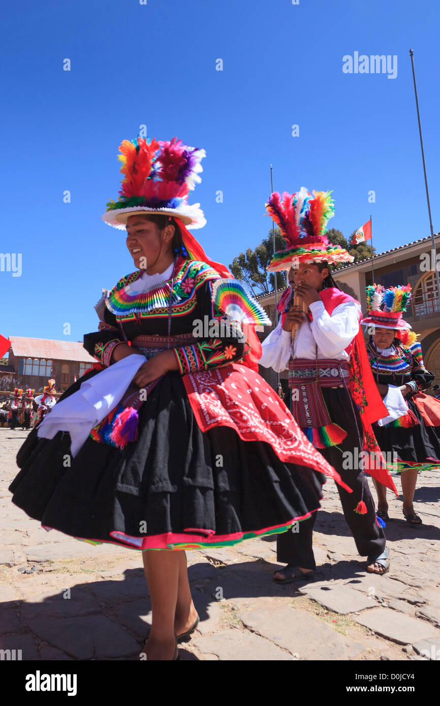 Ceremony on Isla Taquile in Lake Titicaca, Puno province, Peru - Stock Image