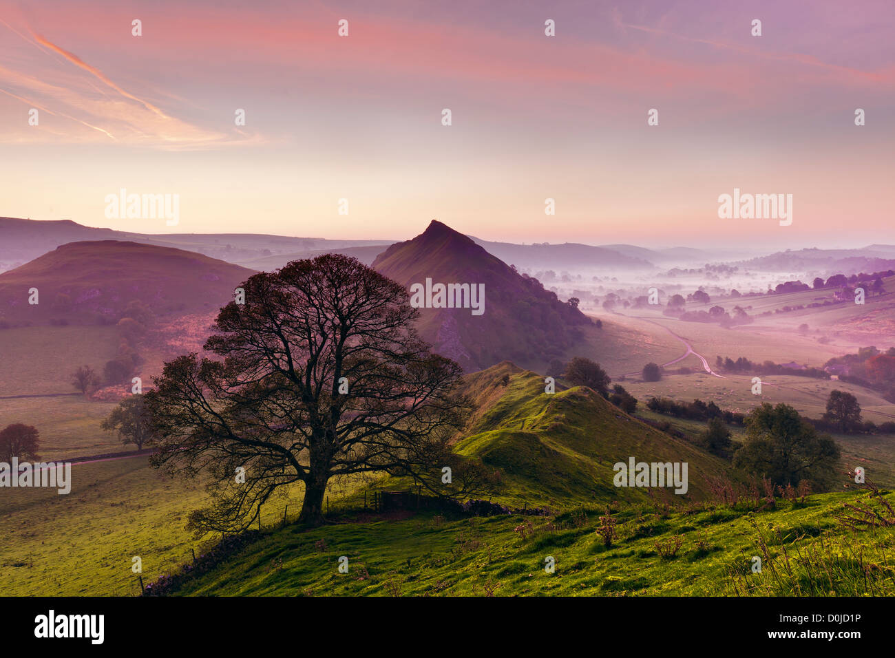 View from Chrome Hill in the Peak District at sunrise. - Stock Image