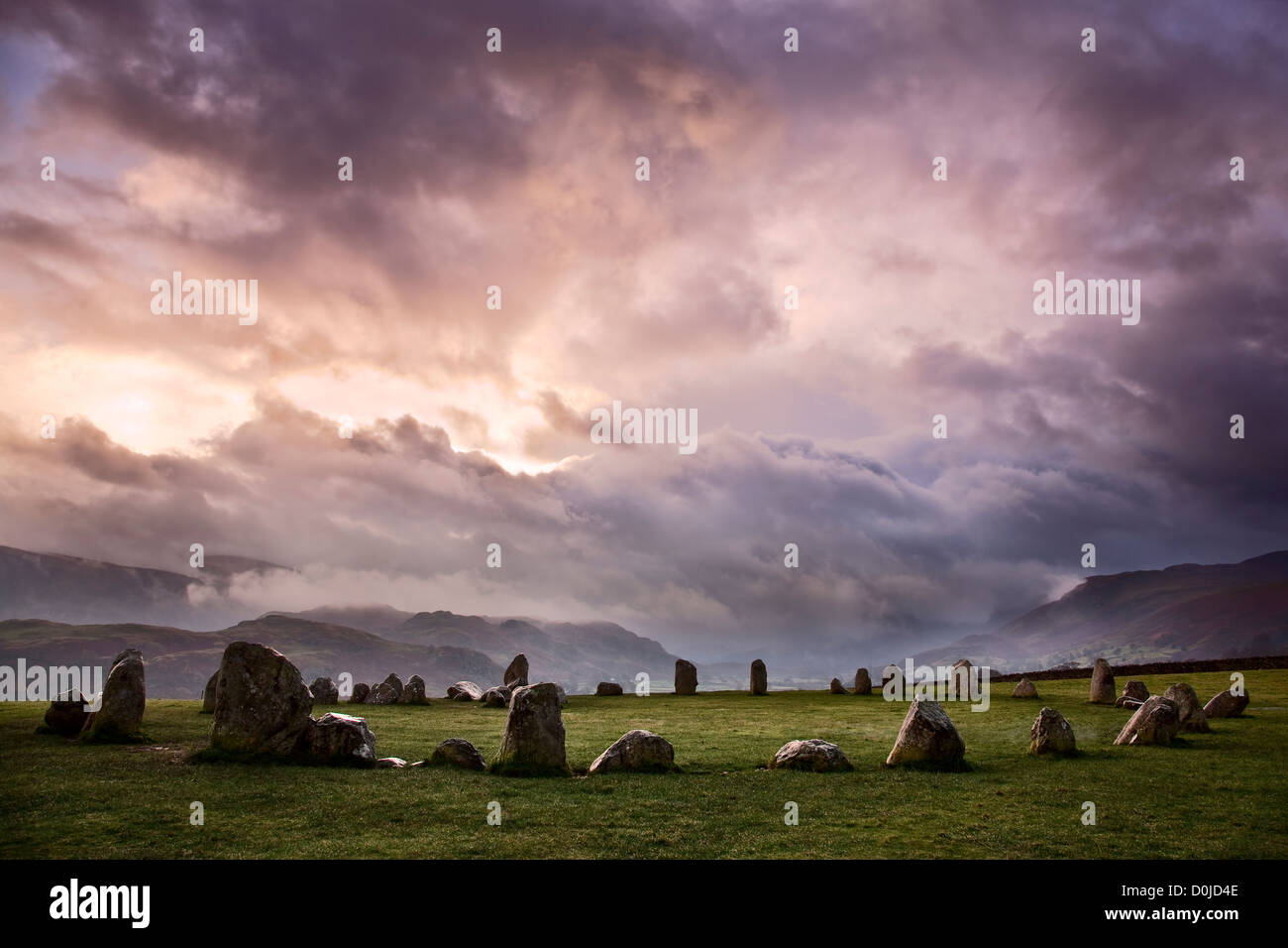 Castlerigg Stone Circle in the Lake District National Park. - Stock Image