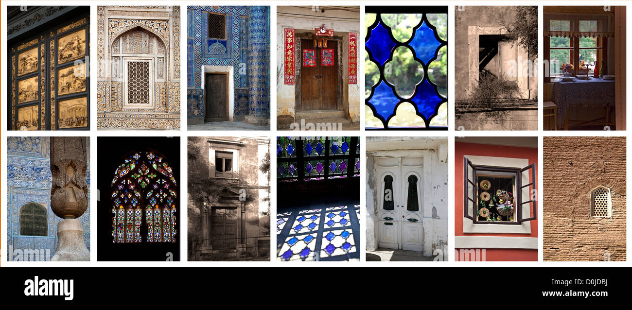doors and windows in the world, collage Stock Photo
