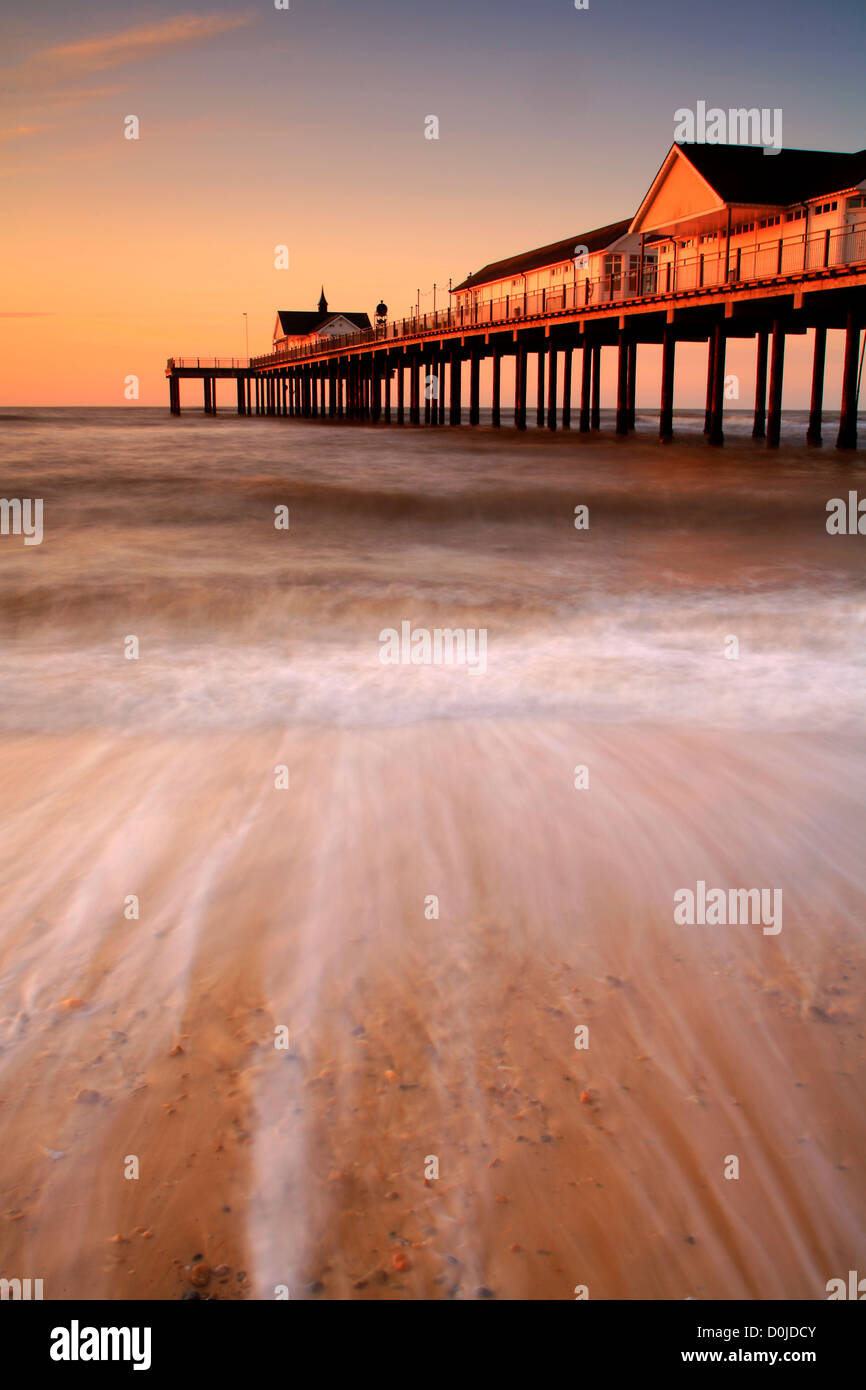 Southwold Pier at sunrise on the Suffolk coast. - Stock Image