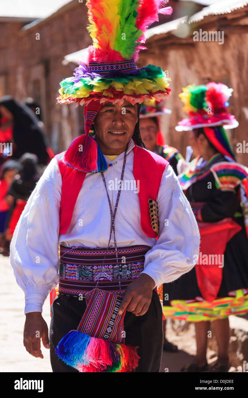 Man in typical costume on Isla Taquile, Lake Titicaca, Peru - Stock Image
