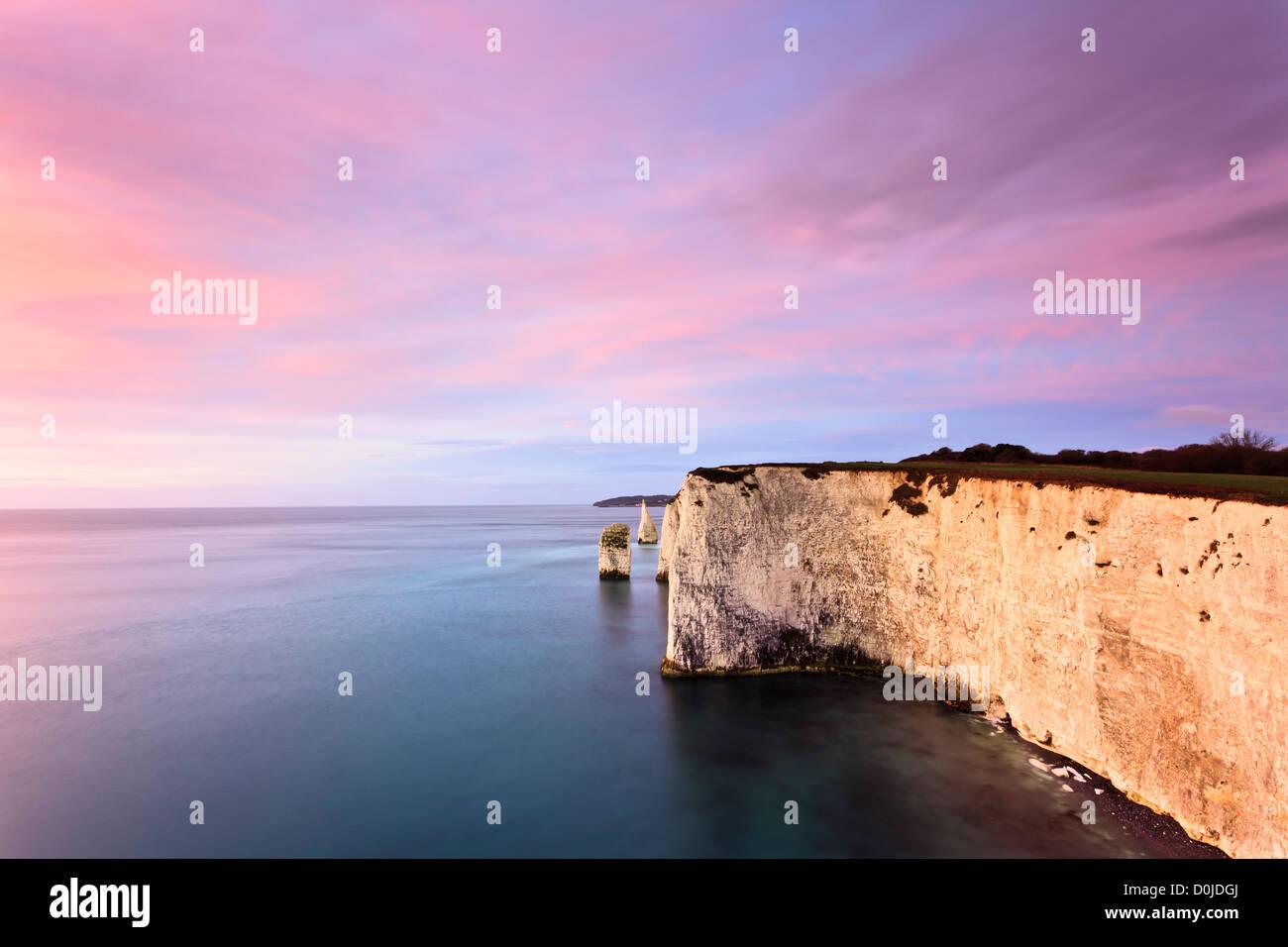 A view toward The Pinnacles on the Dorset coast. - Stock Image