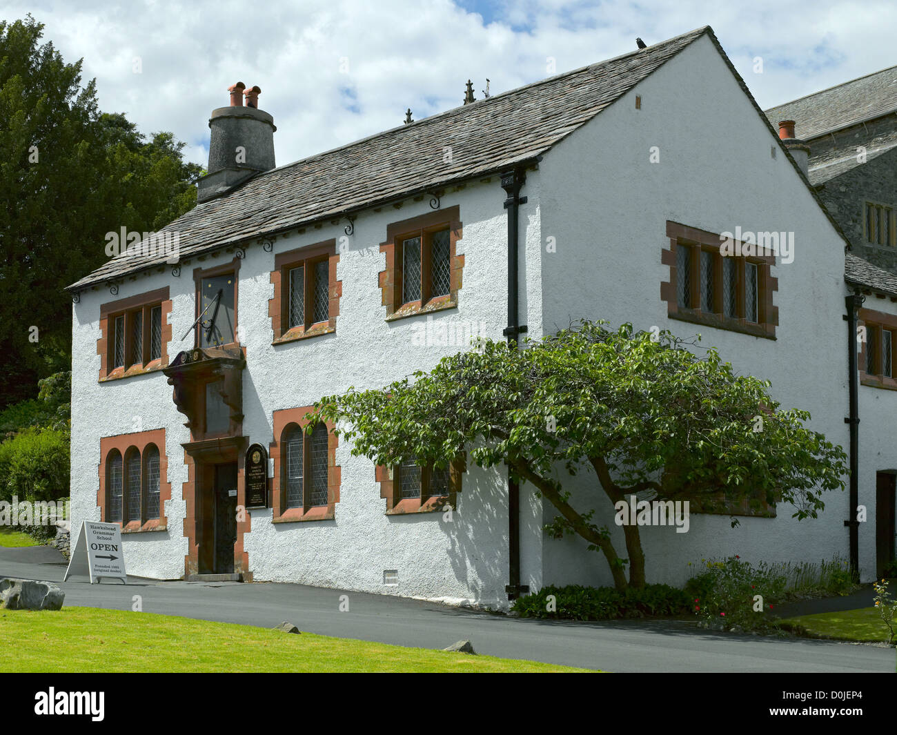 Hawkshead Grammar School which used to be the old grammar school which the poet William Wordsworth attended. - Stock Image