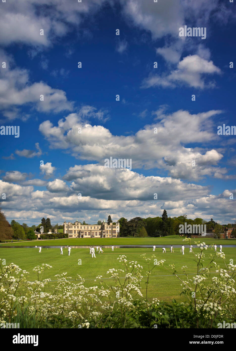 A cricket game being played in the grounds of Audley End. - Stock Image