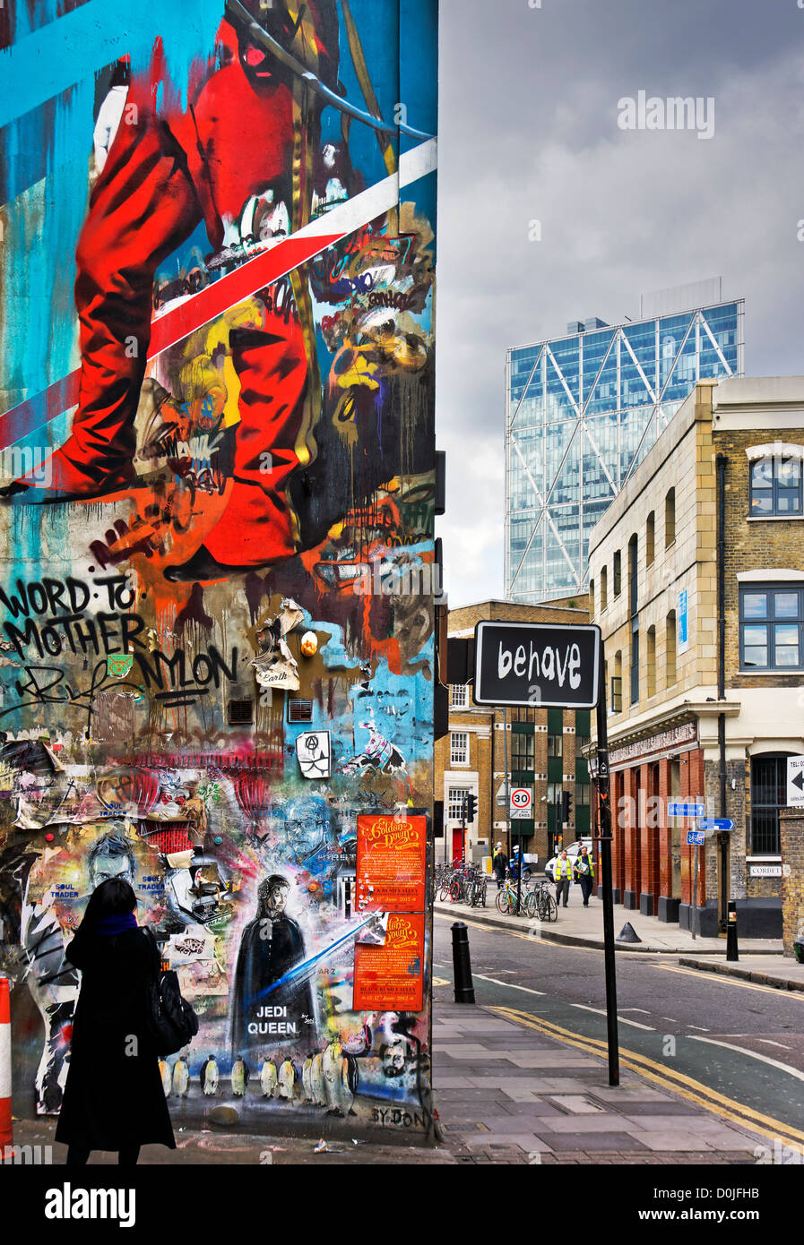 Urban East London with smart City buildings in the distance. - Stock Image
