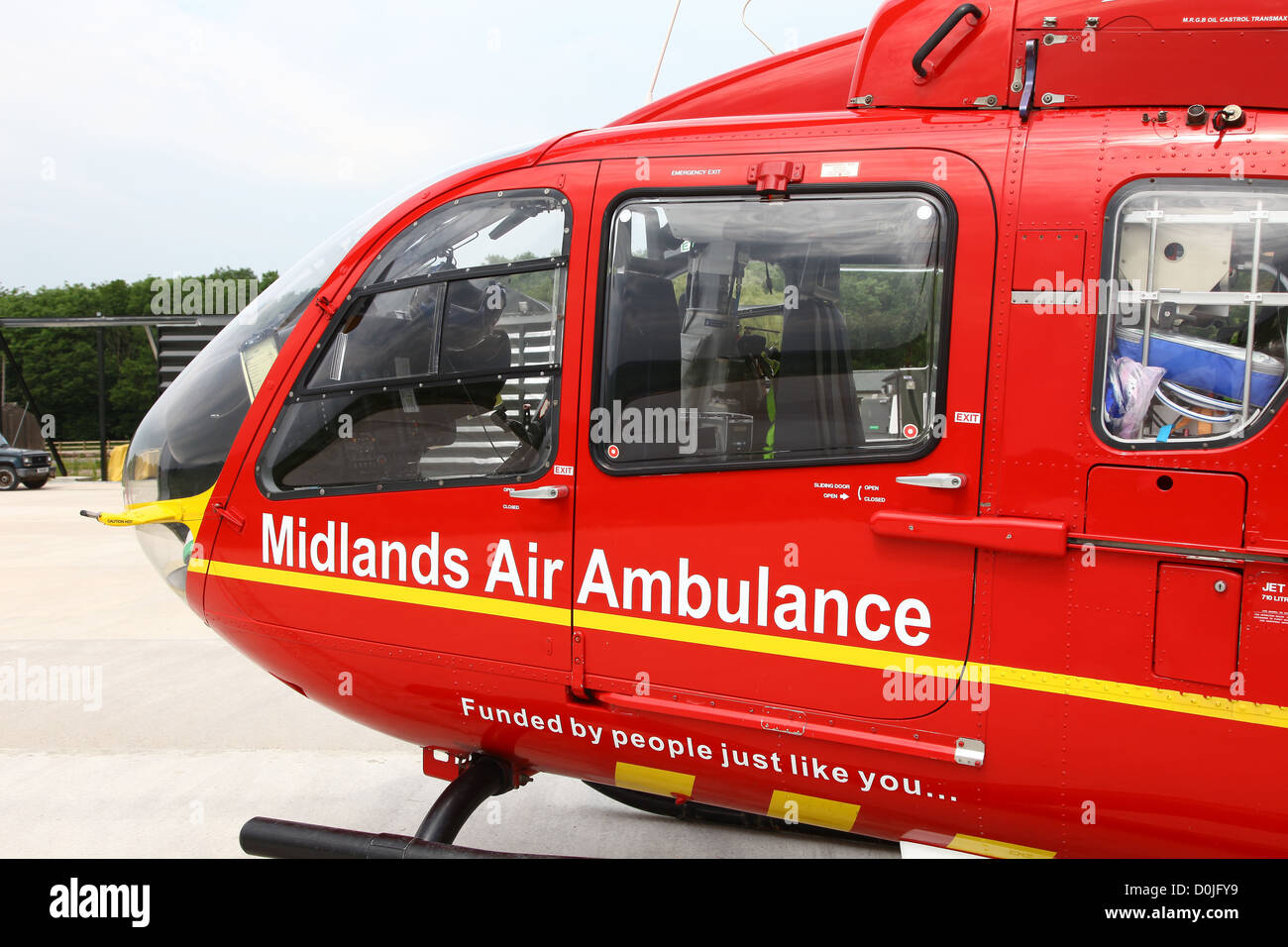 A Eurocopter EC135 helicopter used by the East Midlands Air Ambulance service emergency rescue - Stock Image