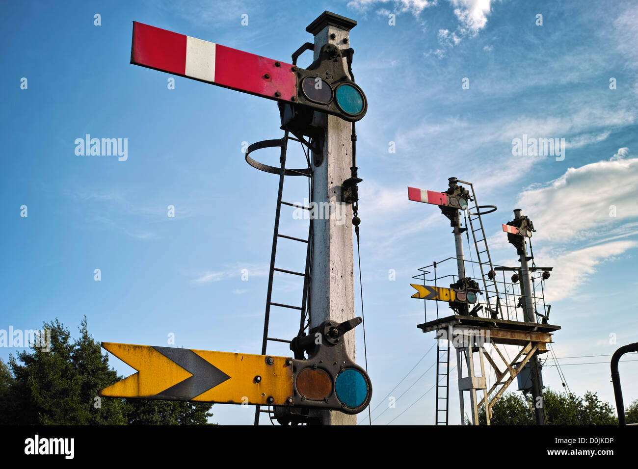 Signals on the Colne Valley and Halstead railway. - Stock Image