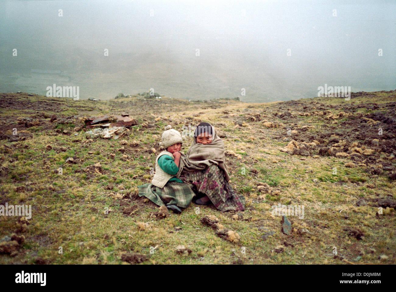 Children in the Cordillera Real - Stock Image